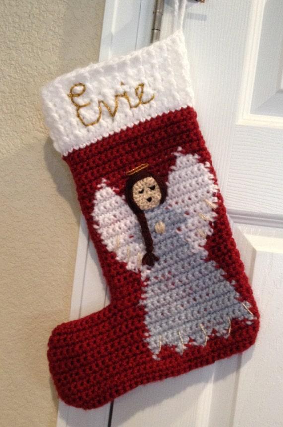 Items Similar To Christmas Stocking Angel Stocking Crochet