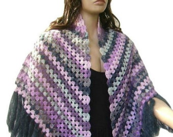 Mohair Crochet Multicolored Shawl with Fringe, Dark Gray, Light Grey, Pink, Ready to Ship, Express Delivery