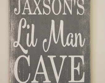 Lil Man Cave Wood Sign Personalized Nursery Sign Boys Nursery Wall Decor Gray and White Nursery Decor Baby Shower Gift Handmade Handpainted