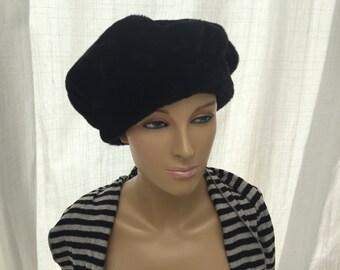 SALE! Pied à Terre Vintage Black Faux Fur Hat Vintage Black Fur Hat Retro Accessories