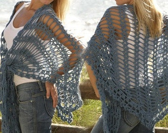 Made crochet shawl, openwork pattern, Handcrafted. CHOOSE THE COLOR.