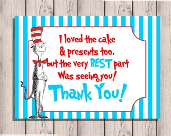 Dr. Seuss Thank You Card, Instant Download Thank You Card, Digital, Thank You Card, 3.5X5, Digital, Print Yourself, Instant Download