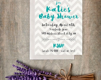 Baby Shower Teal & Chevron Invite - Digital File
