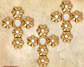 "Decorative Wall cross Set 3, ""Hope""- Home Decor - wooden crosses - Religious wall Decor - Gold Cross wall decor - Christian decor Peru"
