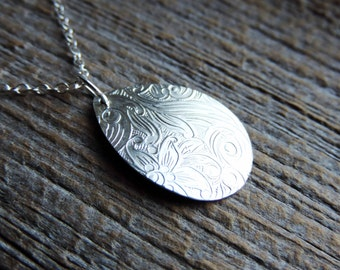Paisley Floral Leaf Pattern Teardrop Necklace | Etched Sterling Silver Pendant | Shiny or Rustic Finish // Made to Order