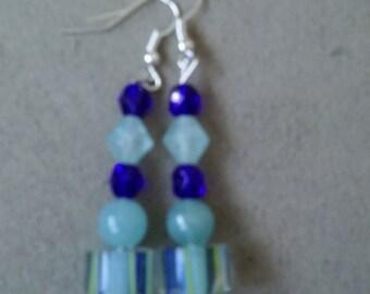 Dark Blue and Light Blue Striped Earrings