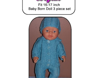 Baby Born Knitting Pattern BRYAN fits 16 to 17 inch dolls (pattern only)