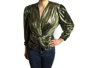 Vintage metallic gold top // black and gold top // trashy retro top // knot front top // 70s disco