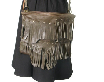 Green olive leather clutch with fringe and braided shoulder belt
