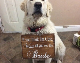 WEDDING Signs | If you think I'm cute, wait till you see the Bride! | 9.5 x 12 |  Wood Wedding Signs