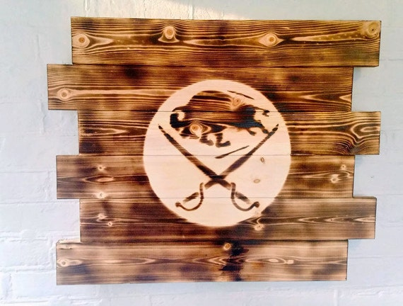 Man Cave Hockey Signs : Buffalo sabres hockey wood sign man cave by