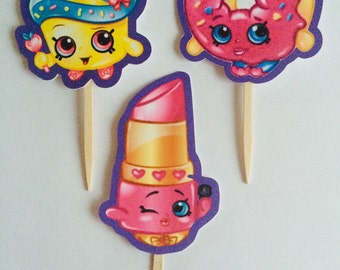 1 dozen Shopkins themed cupcake picks or toppers