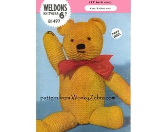 Vintage Knitted Teddy Bear Pattern PDF 464 from WonkyZebra