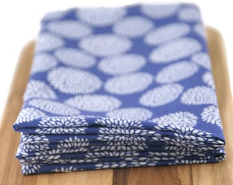 cloth napkins in blue & white floral print - 19 x 19 inches - set of two