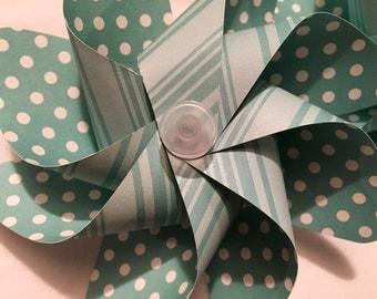 Turquoise Polka Dots and Stripes Pinwheels