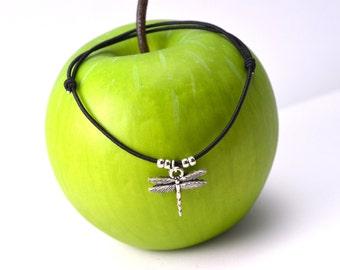 Silver dragonfly bracelet black cord