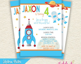 Modern Outer Space Birthday Invitation - Rocket, Spaceship, Rocketship, Planets, Moon, Stars