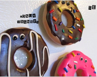 Doughnut Refrigerator Magnets, Donut Magnets, Doughnut Magnets, Donut Frig Magnets, Donut Gifts, Cute Refrigerator Magnets, Sweet Magnets