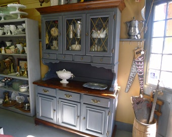 Painted hutch with glass doors and drawers [NO SHIPPING > store pickup only]