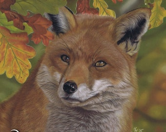 Red fox wildlife painting in pastel from Art by Karie-Ann. Autumn nature animal portrait