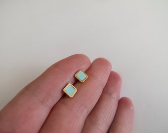 Tiny 6mm Mint Gold Stud Earrings - Hypoallergenic Surgical Steel Posts
