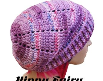 Large long chunky over sized beanie in Purple and Lilac with Red and Blue flecks.