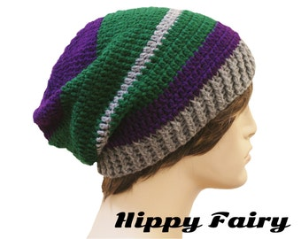 mens beanie, large beanie, extra slouchy beanie, oversized hat,oversized beanie, Royal Purple, Green and Gray