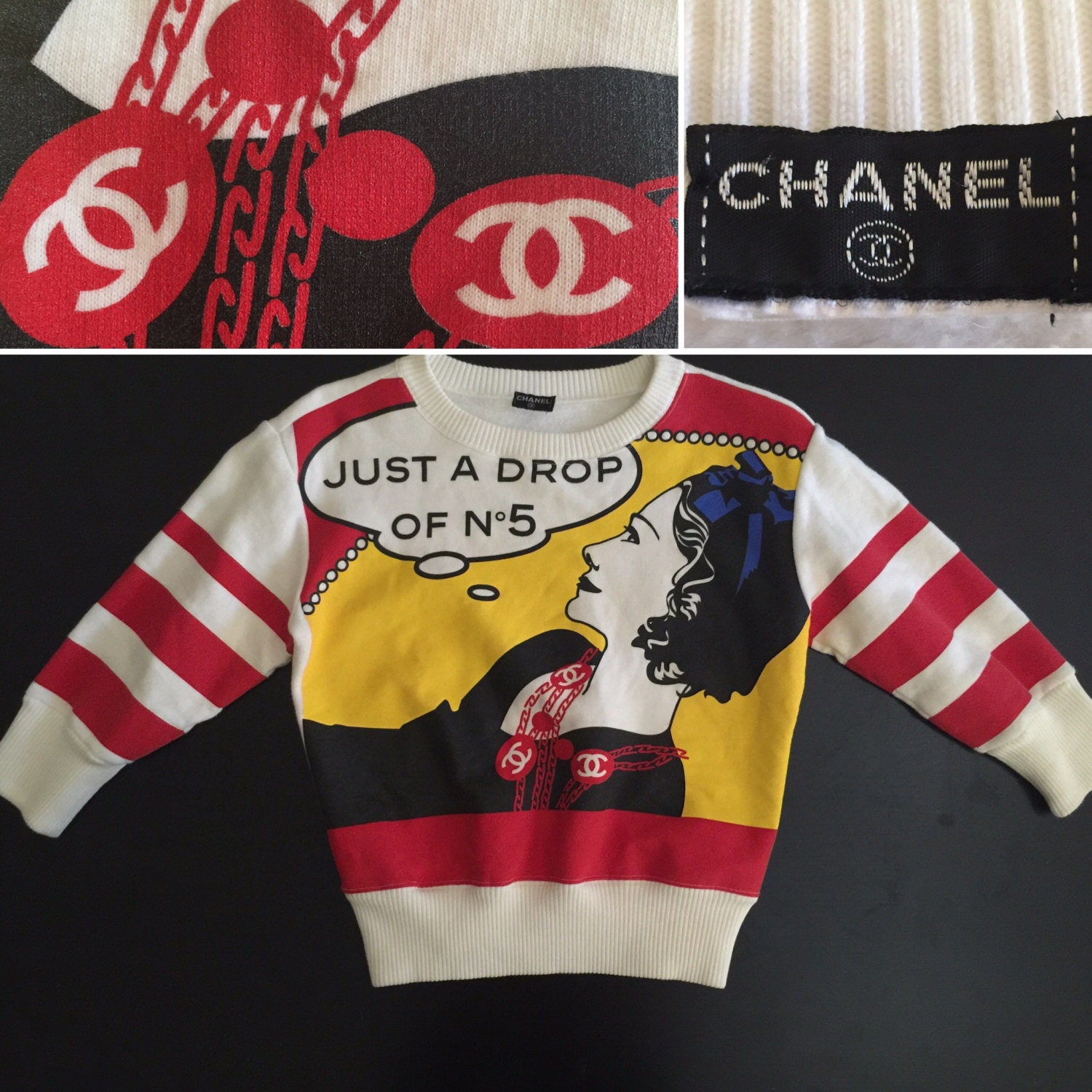 Chanel authentic cc logo runway just a drop of no for Authentic chanel logo t shirt
