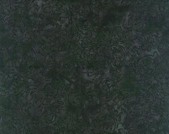 RJR Malam Batik Jinny Beyer Black Grey Leafy Swirl Batik Fabric 2 yds