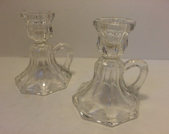 SALE! Cut glass Candle stick holders with finger loops