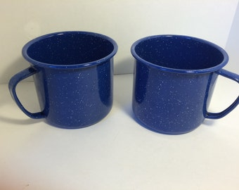 Large/Oversized Blue Speckeled Enamelware Cups/Mugs