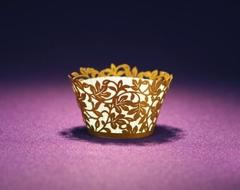 25 Mini size Clara Laser Cut Cupcake Wrappers from Paper Orchid - Choose from 4 stock colors