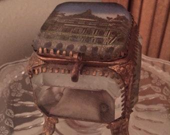 So pretty antique french beveled glass jewelry box/casket