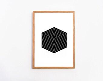 Black Cube Geometric Print