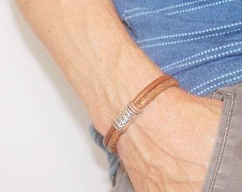 Mens Personalised Bracelet, Leather Bracelet ,Personalised Silver Name Bead, Bracelet, Mens leather bracelet, Father Day Gift, Mens Bracelet
