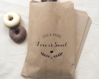 50 Love is Sweet Paper Bags - Kraft Wedding Paper Bags