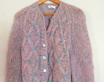Hand Knit Sweater- Vintage Sweater Made in Italy- Beautiful Handknit Sweater -Women's Small, Cardigan, Pastel Colors