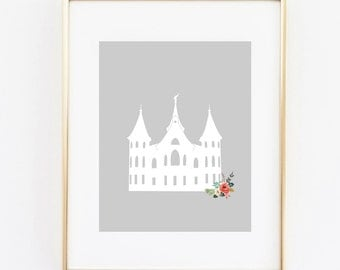 provo city center utah lds temple floral 8x10 art print instant download