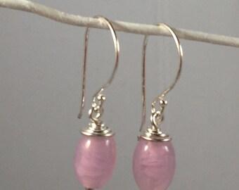 Fantasy Pink Lampwork Earing Handmade