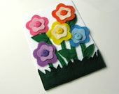 BUTTON FLOWERS felt quiet book page for toddler boy or girl, one page with flowers you can button onto the matching color