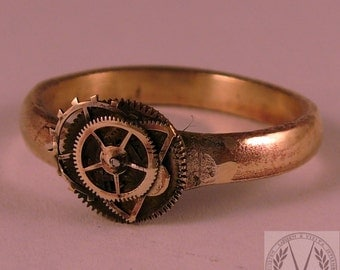 Brilliant Brass Steampunk Ring with FREE Ring Box
