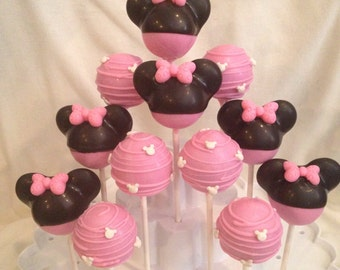 12 Minnie Mouse inspired cake pop Assortment, Red Minnie or Pink Minnie Mouse.