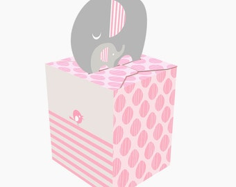 Box of 48 Pink Little Peanut Elephant Baby Shower Favor Boxes ~ Great Value!