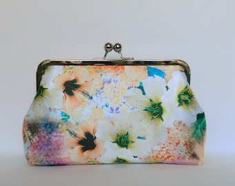 Silk Floral Clutch Purse, Bridal Clutch, Floral Clutch, Wedding Clutch, Evening Clutch, Clutch purse, Silk Clutch