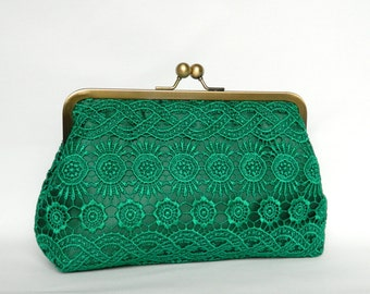 Emerald Green Lace Clutch, Bridal Clutch bag, Lace Clutch, Wedding Clutch, Evening Clutch, Bridesmaids Clutch, Bridesmaids Gifts