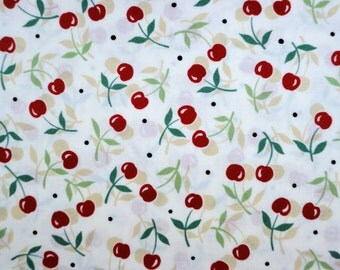 Vintage Cherries 1930's Reproduction Flour-Sack Print Fabric ONE YARD