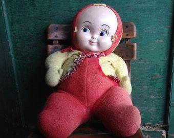 Vintage large carnival doll / kewpie smile / vintage carnival / large stuffed doll