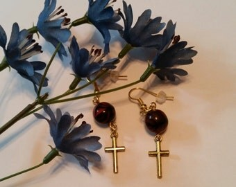 Gold cross earrings brown beads hypo allergenic hooks