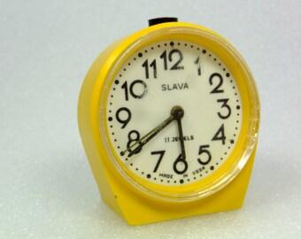 SALE Working Vintage Russian Mechanical Alarm Clock Slava from Soviet Union Period, CCCP