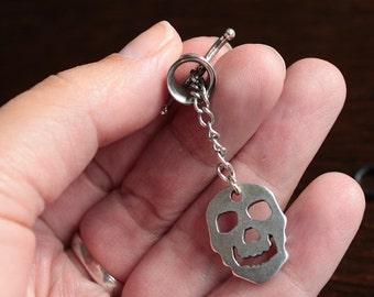 Tunnel pendant with Misfits skull tunnel plug  pendant gaugehanger stretch stretched earring, skull,